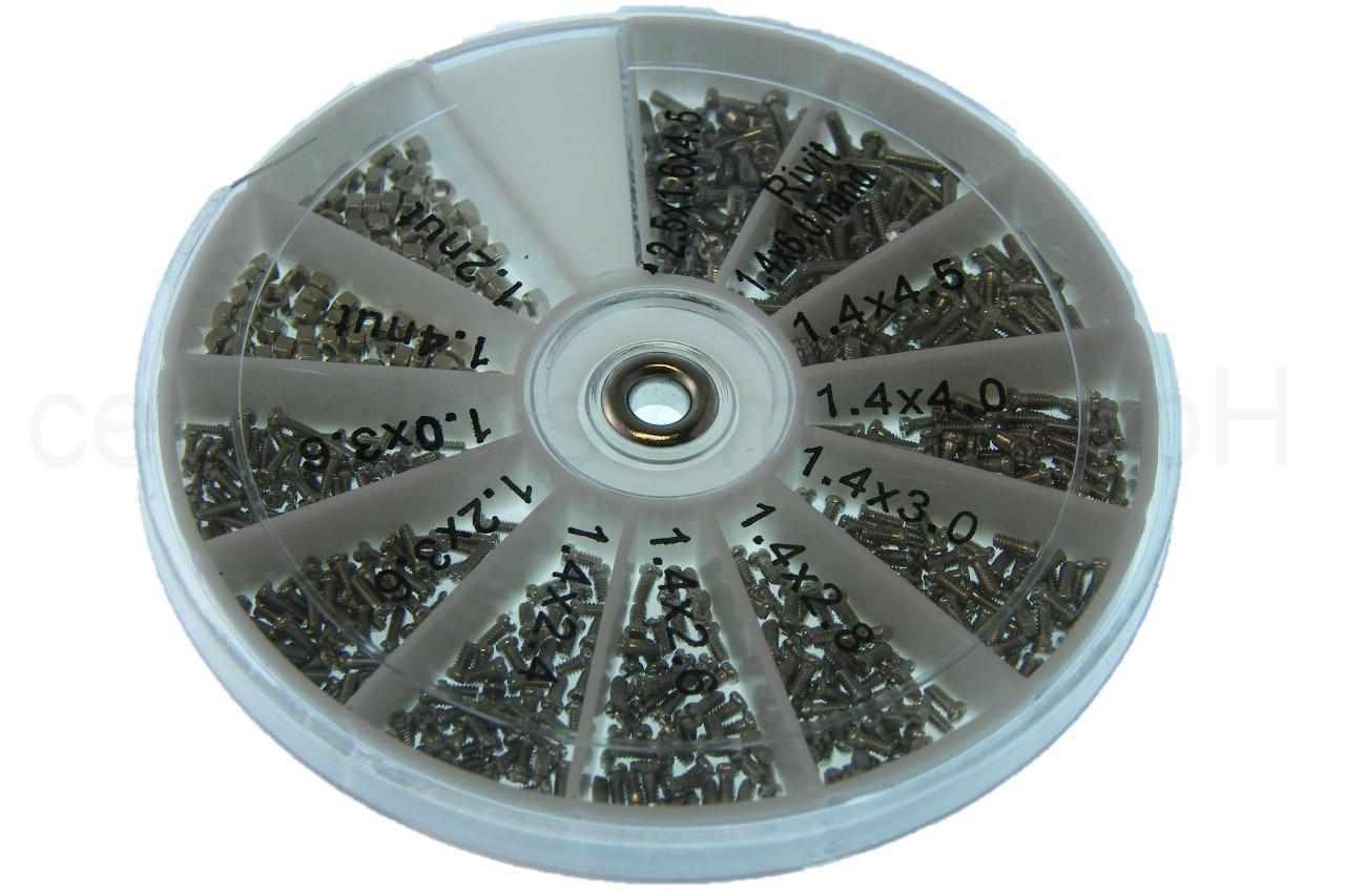 600tlg 12 Arten Edelstahl kleine Schrauben Muttern Sortiment Uhr Brille Mini KG